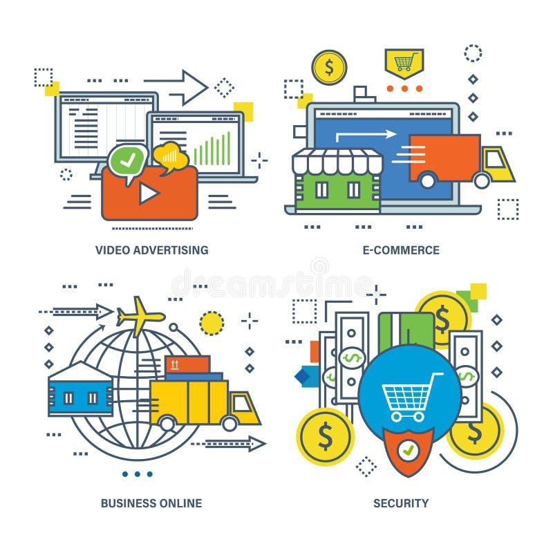 Έννοια της τηλεοπτικής διαφήμισης, ηλεκτρονικό εμπόριο, επιχείρηση on-line, ασφάλεια διανυσματική απεικόνιση