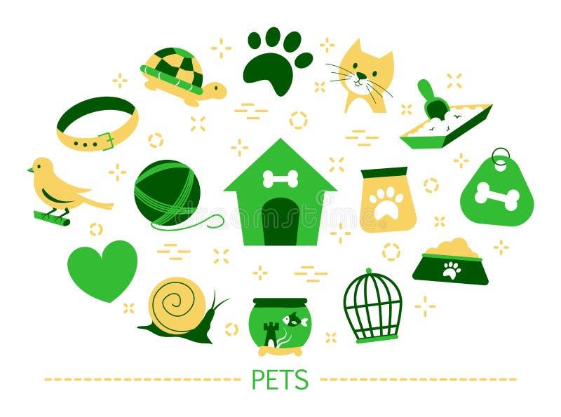 Έννοια της Pet Εσωτερικά σκυλί και ψάρια, γάτα και πουλί ελεύθερη απεικόνιση δικαιώματος