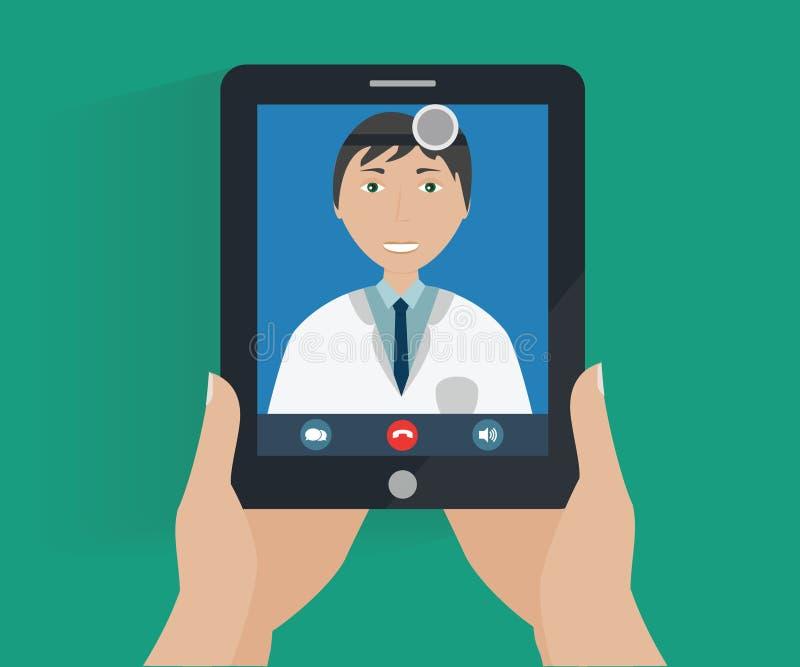 Έννοια τηλεϊατρικής - σε απευθείας σύνδεση διαβουλεύσεις γιατρών απεικόνιση αποθεμάτων