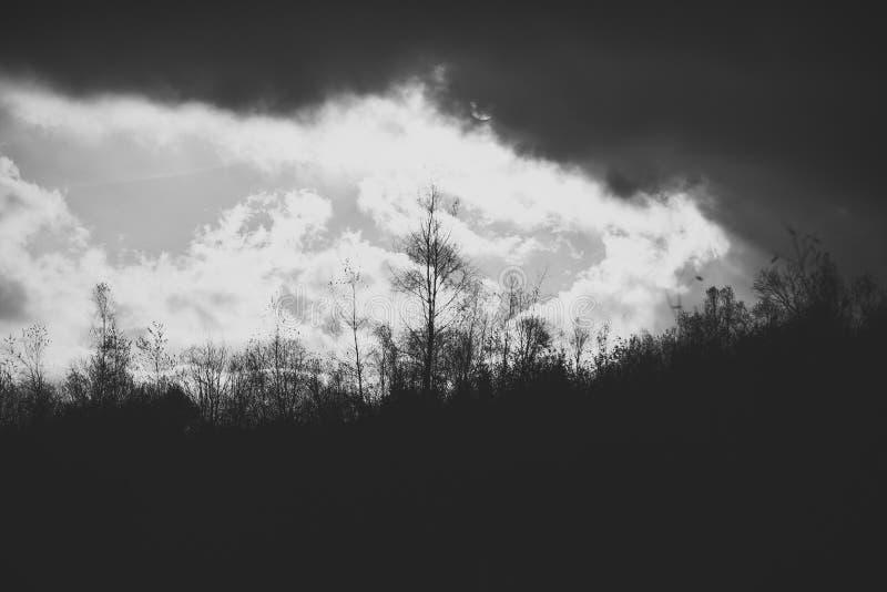Έννοια τοπίων φθινοπώρου Ο ήλιος κάνει τον τρόπο του μέσω των απειλητικών σύννεφων στοκ φωτογραφία με δικαίωμα ελεύθερης χρήσης