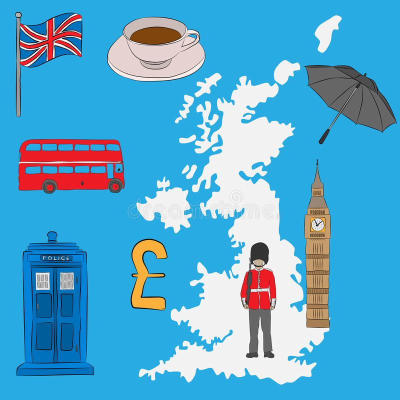 Έννοια τουριστών - βρετανικά σύμβολα, που σύρονται στο μολύβι Σημαία του Union Jack, Big Ben, βασιλική φρουρά, ένα φλυτζάνι του τ απεικόνιση αποθεμάτων