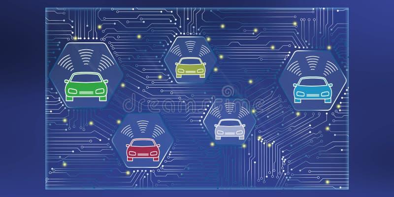 Έννοια του έξυπνου αυτοκινήτου ελεύθερη απεικόνιση δικαιώματος