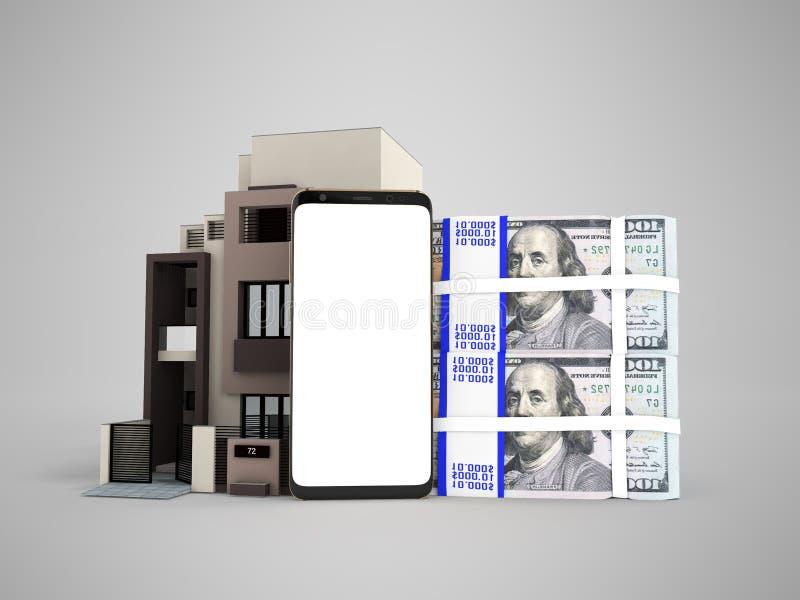 Έννοια του δανείου μέσω του τηλεφώνου σε δολάρια σε ένα τρισδιάστατο rend διαμερισμάτων ελεύθερη απεικόνιση δικαιώματος