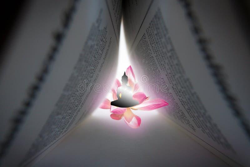 Έννοια του Διαφωτισμού στο βουδισμό μέσω της μόνων εκπαίδευσης και της ανάγνωσης Επίτευξη του νιρβάνα και της γνώσης στοκ φωτογραφία με δικαίωμα ελεύθερης χρήσης