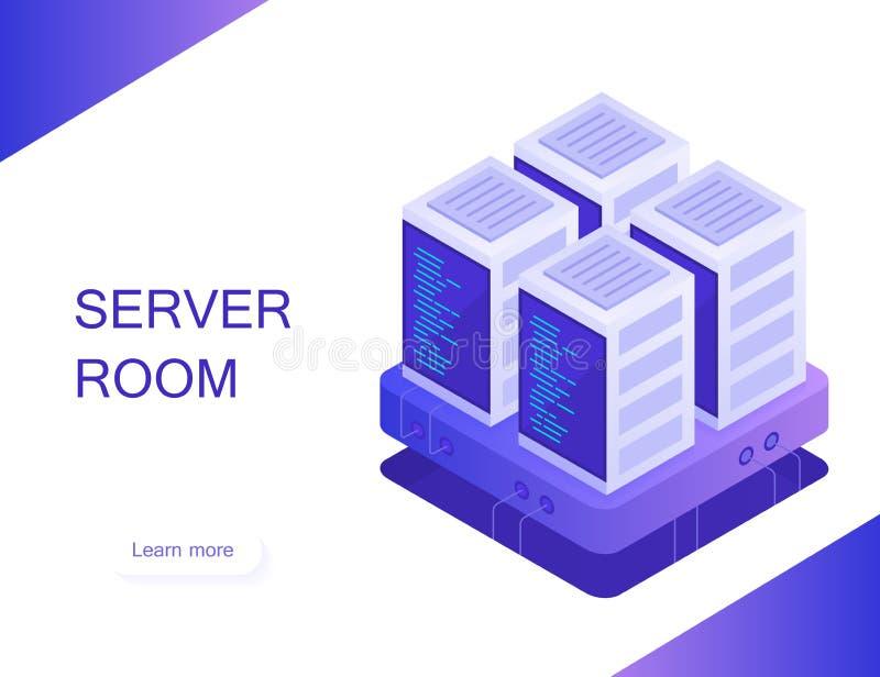 Έννοια του δωματίου κεντρικών υπολογιστών Φιλοξενία με την αποθήκευση στοιχείων σύννεφων και το δωμάτιο κεντρικών υπολογιστών Ράφ απεικόνιση αποθεμάτων