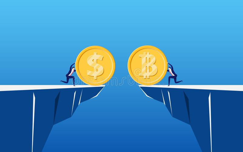 Έννοια του εικονικού cryptocurrency επιχειρησιακού ψηφιακού Bitcoin Οι επιχειρηματίες κρατούν χρυσά Bitcoin και το νόμισμα δολαρί ελεύθερη απεικόνιση δικαιώματος