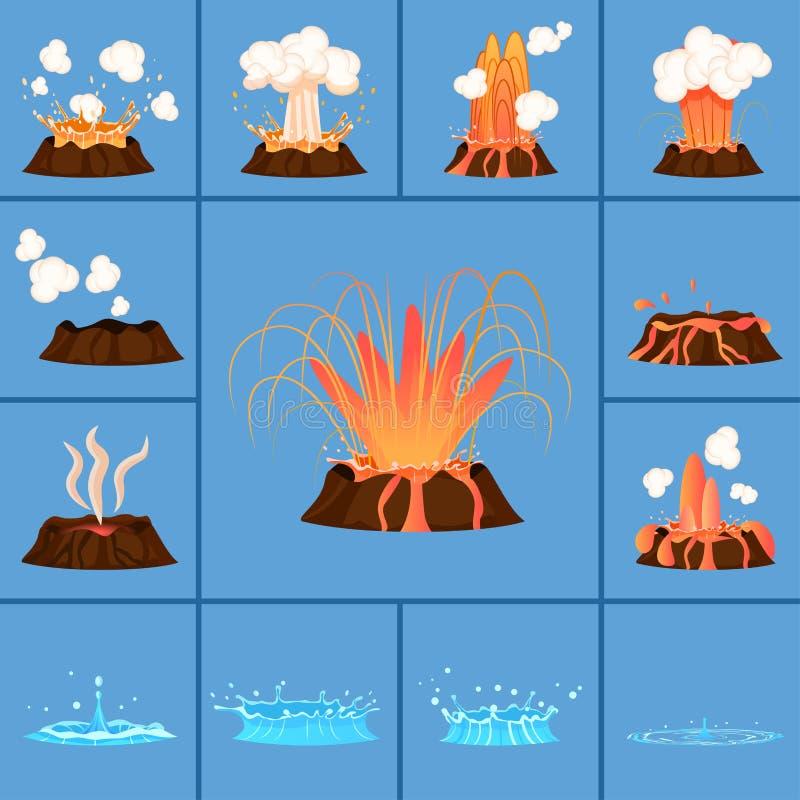 Έννοια του ενεργά ηφαιστείου και Geyser στη δράση ελεύθερη απεικόνιση δικαιώματος