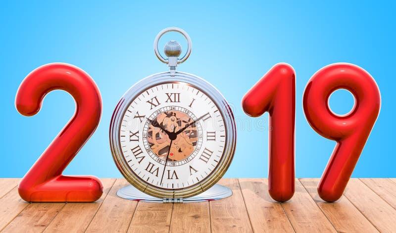 έννοια του 2019 με το ρολόι τσεπών στον ξύλινο πίνακα τρισδιάστατη απόδοση διανυσματική απεικόνιση