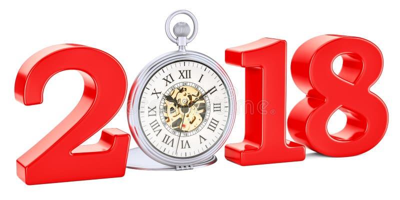 έννοια του 2018 με το ρολόι τσεπών, τρισδιάστατη απόδοση απεικόνιση αποθεμάτων