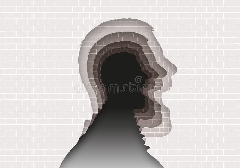 Έννοια του μυστηρίου των διανοητικών ασθενειών με ένα επικεφαλής σχεδιάγραμμα που επαναλαμβάνεται στο άπειρο διανυσματική απεικόνιση