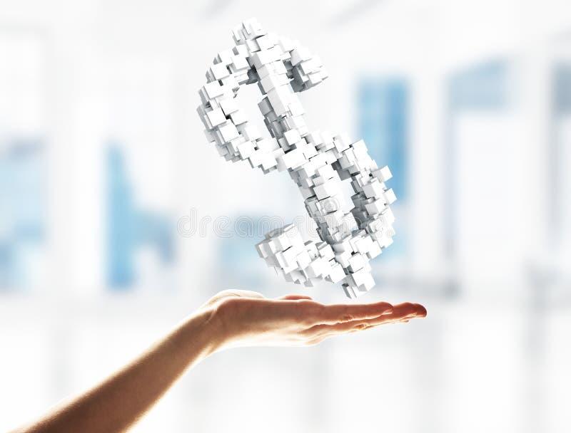 Έννοια του νομίσματος από το σύμβολο δολαρίων που παρουσιάζεται στο αρσενικό χέρι Μικτά μέσα στοκ φωτογραφία με δικαίωμα ελεύθερης χρήσης