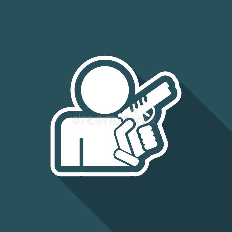 Έννοια του οπλισμένου ατόμου απεικόνιση αποθεμάτων