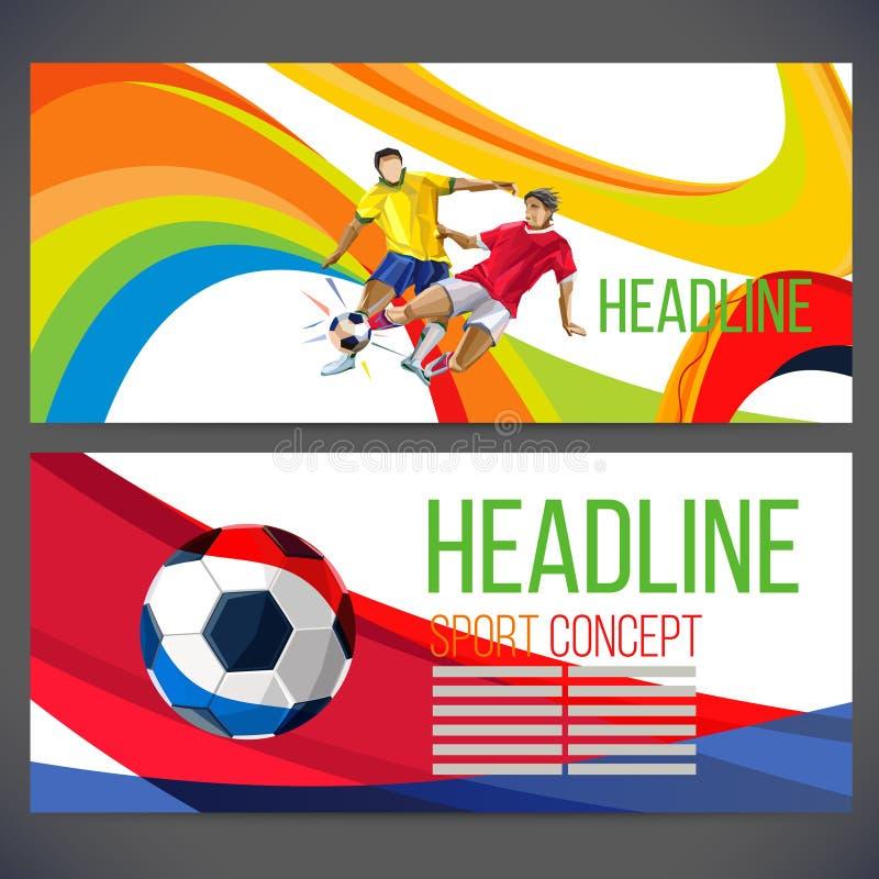 Έννοια του ποδοσφαιριστή με τις χρωματισμένες γεωμετρικές μορφές διανυσματική απεικόνιση