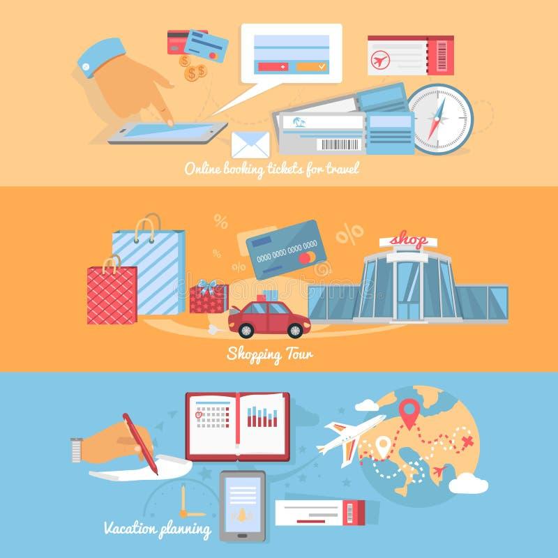 Έννοια του ταξιδιού προγραμματισμού και οργάνωσης διανυσματική απεικόνιση