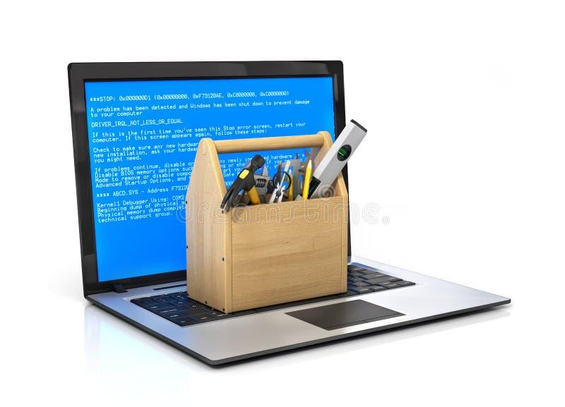 Έννοια του τεχνικού υπολογιστή υπηρεσιών και επισκευής διανυσματική απεικόνιση