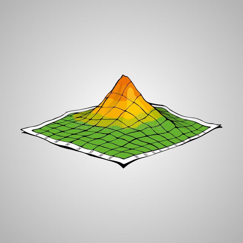 Έννοια του τοπογραφικού χάρτη απεικόνιση αποθεμάτων
