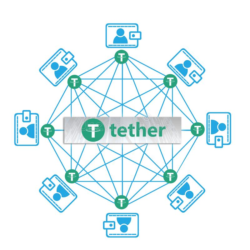 Έννοια του aka νομισμάτων σχοινιών USDT, μια πλατφόρμα Cryptocurrency blockchain απεικόνιση αποθεμάτων