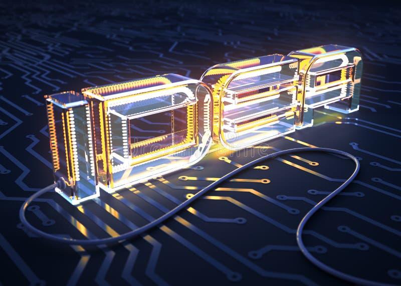 Έννοια του cIdea κειμένων που γίνεται ως ηλεκτρικός λαμπτήρας στον τυπωμένο πίνακα κυκλωμάτων απεικόνιση αποθεμάτων