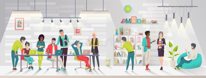 Έννοια του coworking κέντρου απεικόνιση αποθεμάτων