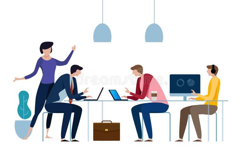 Έννοια του coworking κέντρου business businessman cmputer desk laptop meeting smiling talking to using woman Επίπεδη διανυσματική ελεύθερη απεικόνιση δικαιώματος