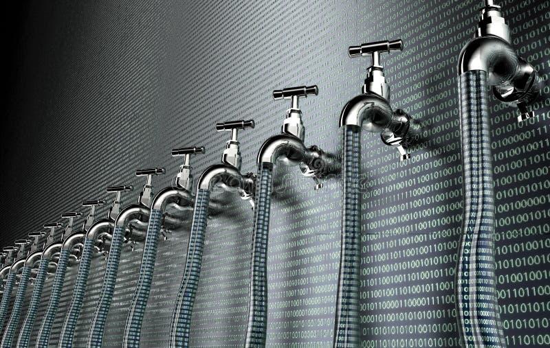 Έννοια του leaky λογισμικού, στοιχεία με μια βρύση που κολλά έξω διανυσματική απεικόνιση