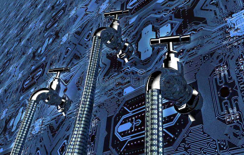 Έννοια του leaky λογισμικού, στοιχεία με μια βρύση που κολλά έξω απεικόνιση αποθεμάτων