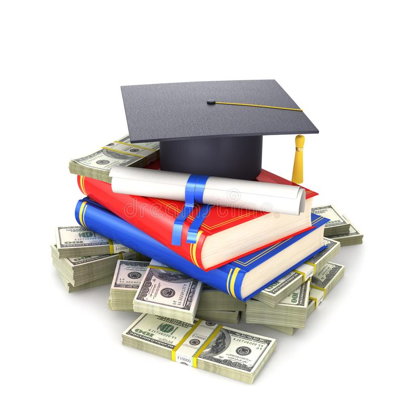 Έννοια, το κόστος της εκπαίδευσης Ένα διαβαθμισμένο ` s ΚΑΠ με ένα δίπλωμα και βιβλία σε μια δέσμη του λογαριασμού δολαρίων τρισδ απεικόνιση αποθεμάτων