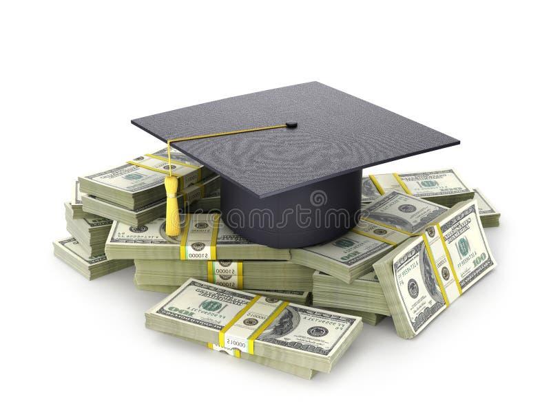 Έννοια, το κόστος της εκπαίδευσης Το διαβαθμισμένο καπέλο ` s σε μια δέσμη του λογαριασμού δολαρίων τρισδιάστατη απεικόνιση ελεύθερη απεικόνιση δικαιώματος