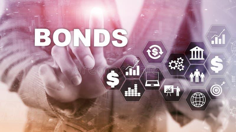 Έννοια τραπεζικής τεχνολογίας χρηματοδότησης δεσμών επιχειρησιακή Ηλεκτρονικό σε απευθείας σύνδεση δίκτυο εμπορικής αγοράς διανυσματική απεικόνιση