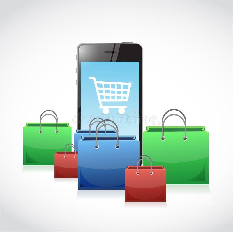 έννοια τσαντών αγορών ηλεκτρονικού εμπορίου διανυσματική απεικόνιση