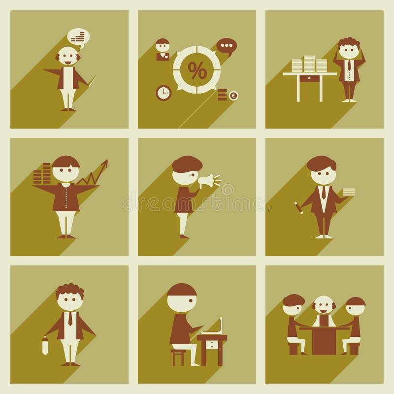 Έννοια των επίπεδων εικονιδίων με τους μακριούς εργαζομένους γραφείων σκιών ελεύθερη απεικόνιση δικαιώματος