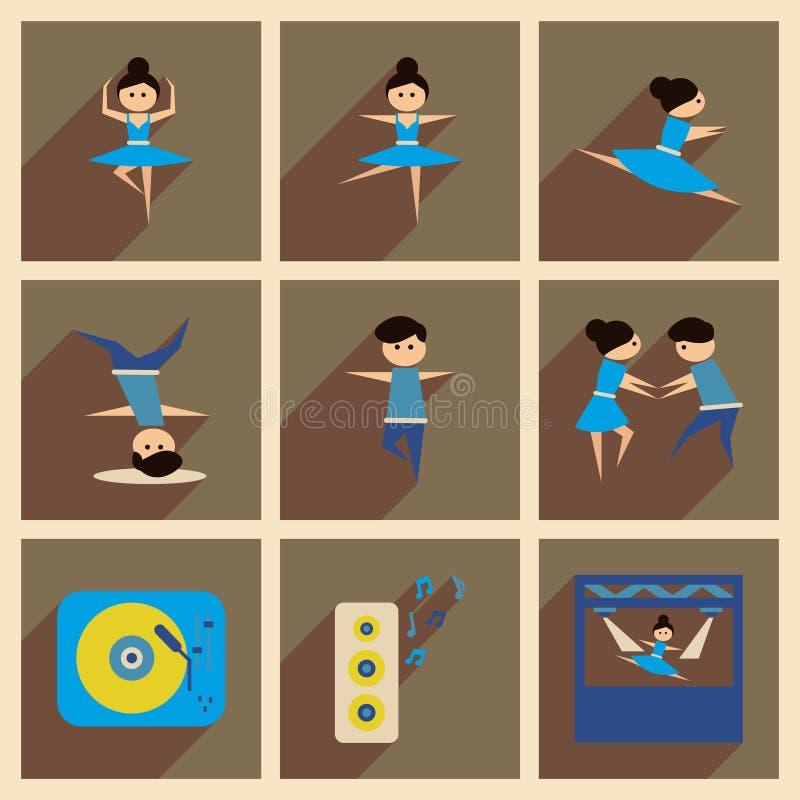 Έννοια των επίπεδων εικονιδίων με το μακροχρόνιο χορό σκιών ελεύθερη απεικόνιση δικαιώματος