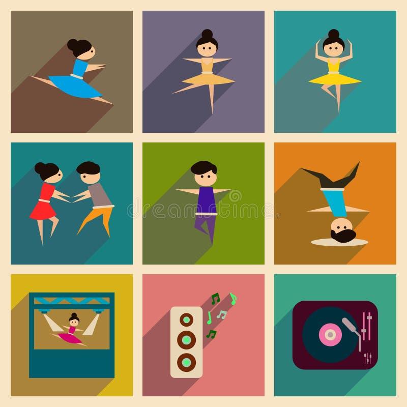 Έννοια των επίπεδων εικονιδίων με το μακροχρόνιο χορό σκιών διανυσματική απεικόνιση
