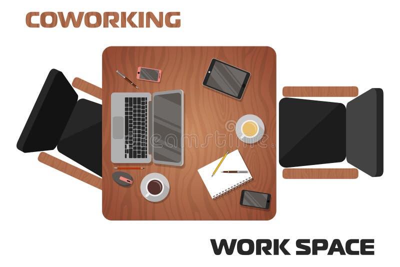 Έννοια των εργασιακών χώρων το διάστημα για δύο ανθρώπους διανυσματική απεικόνιση