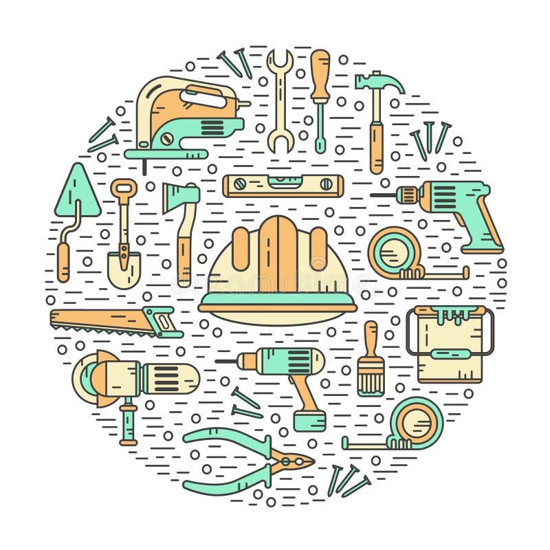 Έννοια των εργαλείων κατασκευών διανυσματική απεικόνιση