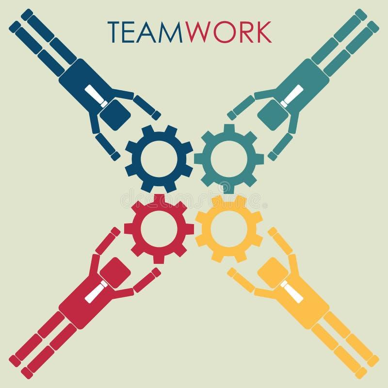 Έννοια των ομαδικών εργασιών Σύστημα εργασίας οικοδόμησης Businessmans της Γερμανίας ελεύθερη απεικόνιση δικαιώματος