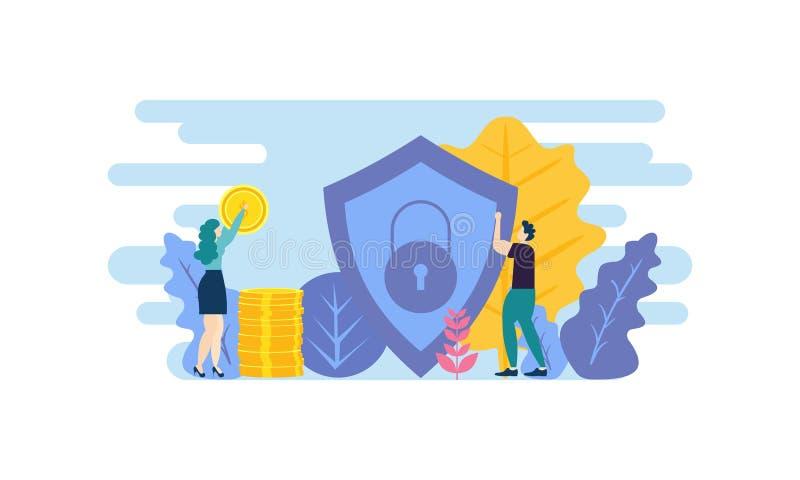 Έννοια των χρηματοοικονομικών επενδύσεων Βοηθός επιχείρησης καινοτομία, μάρκετινγκ, ανάλυση απεικόνιση διανύσματος Πρότυπο επίπεδ διανυσματική απεικόνιση