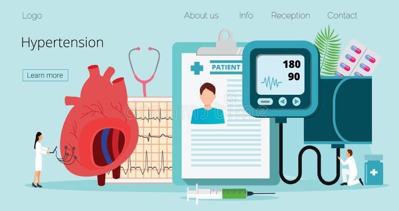 Έννοια υγείας της υπότασης και υψηλός - πίεση του αίματος χοληστερόλης διανυσματική απεικόνιση