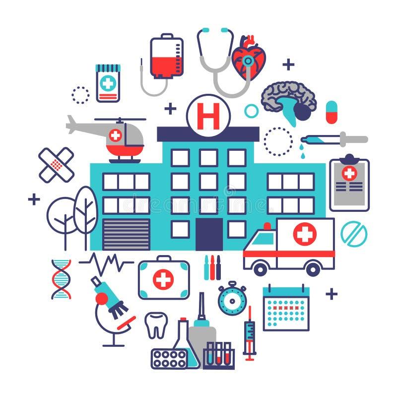 Έννοια υγειονομικής περίθαλψης στο επίπεδο σχέδιο γραμμών Διανυσματικό πνεύμα απεικόνισης απεικόνιση αποθεμάτων