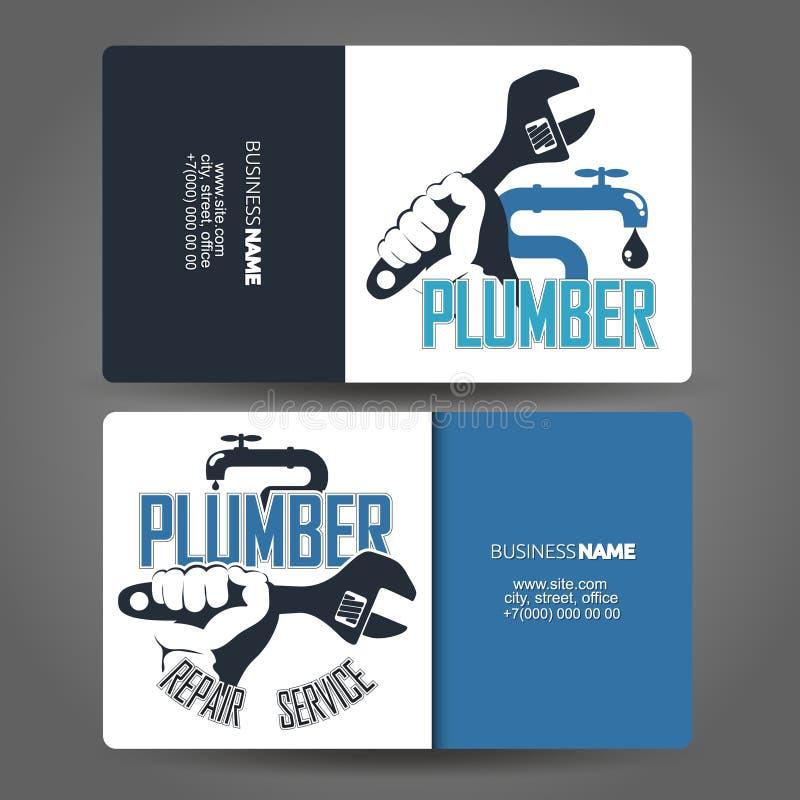 Έννοια υδραυλικών επισκευής επαγγελματικών καρτών απεικόνιση αποθεμάτων