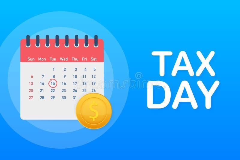 Έννοια υπενθυμίσεων φορολογικής ημέρας - πρότυπο ημερολογιακού σχεδίου Φορολογική προθεσμία r ελεύθερη απεικόνιση δικαιώματος