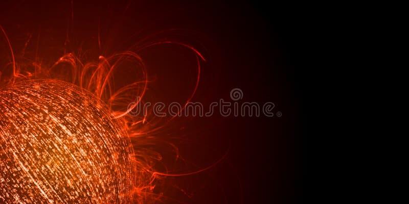 Έννοια υπερφόρτωσης πληροφοριών Σφαίρα που δημιουργείται από τα δυαδικά στοιχεία με την εκπομπή φλογών κόκκινου χρώματος και θερμ στοκ φωτογραφία με δικαίωμα ελεύθερης χρήσης