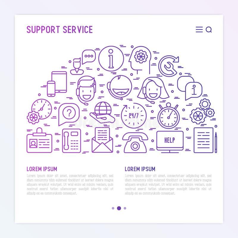 Έννοια υπηρεσίας υποστήριξης με τα λεπτά εικονίδια γραμμών ελεύθερη απεικόνιση δικαιώματος