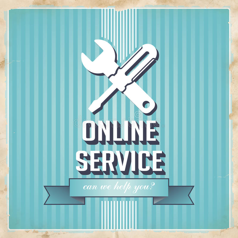 Έννοια υπηρεσία online στο μπλε στο επίπεδο σχέδιο. ελεύθερη απεικόνιση δικαιώματος