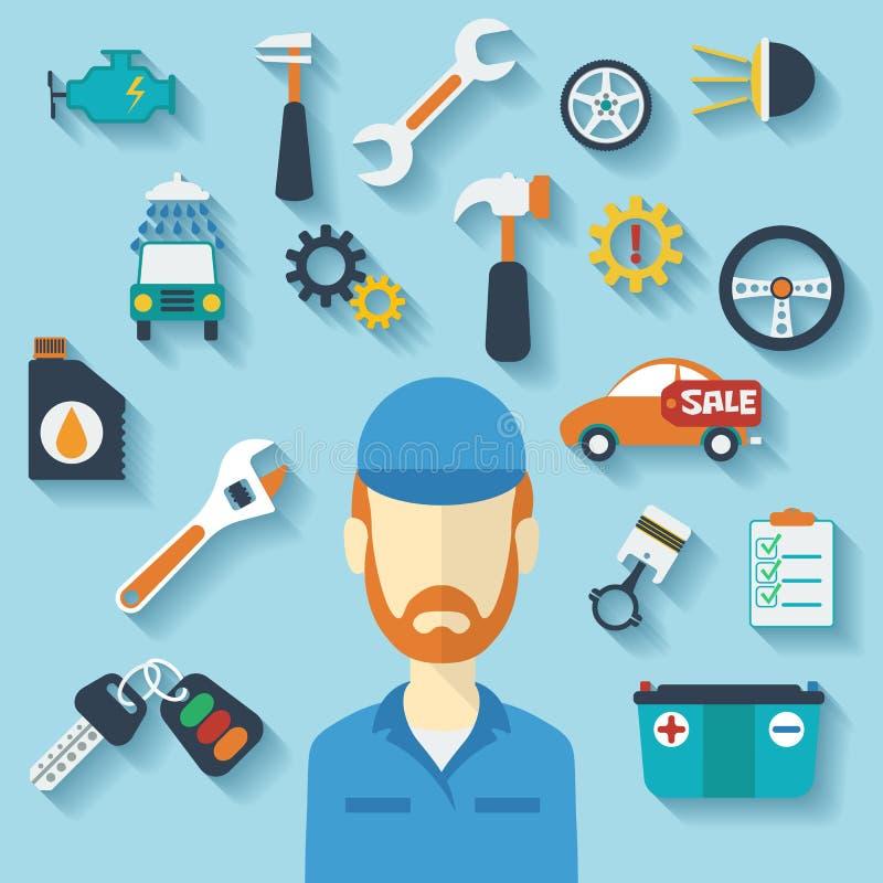 Έννοια υπηρεσιών αυτοκινήτων με τα επίπεδους εικονίδια και το μηχανικό απεικόνιση αποθεμάτων