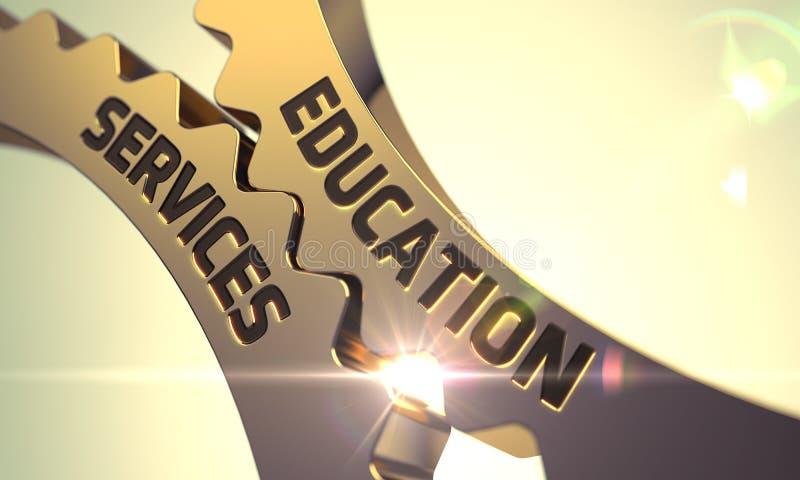 Έννοια υπηρεσιών εκπαίδευσης Χρυσά μεταλλικά Cogwheels τρισδιάστατος διανυσματική απεικόνιση