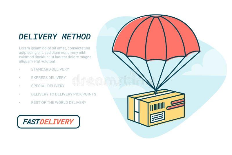 Έννοια υπηρεσιών παράδοσης Επίπεδη χρωματισμένη σχέδιο διανυσματική απεικόνιση περιλήψεων της συσκευασίας με το αλεξίπτωτο παράδο ελεύθερη απεικόνιση δικαιώματος