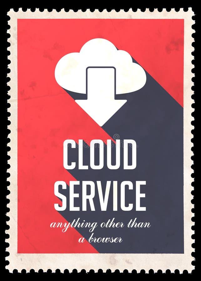 Έννοια υπηρεσιών σύννεφων στο κόκκινο στο επίπεδο σχέδιο. διανυσματική απεικόνιση
