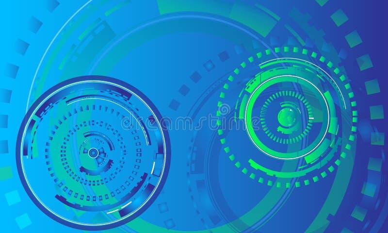 Έννοια υποβάθρου δωματίων ειδήσεων/πράσινα και μπλε κυκλικά γραφικά στοιχεία για την τεχνολογία, υπόβαθρο πληροφορικής απεικόνιση αποθεμάτων