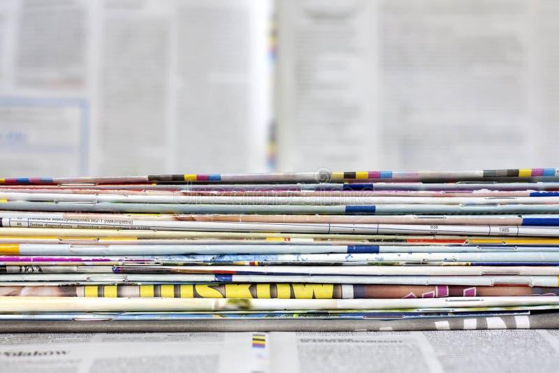 Έννοια υποβάθρου εφημερίδων και περιοδικών στοκ εικόνα
